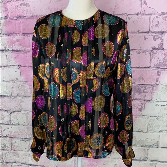 Vintage Tops - Vtg Christie & Jill multicolored pleated blouse 8